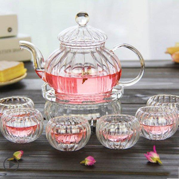 5Cgo【茗道】含稅會員有優惠  10288016621 歐式整套花茶茶具套裝過濾透明玻璃泡茶壺雙層茶杯加熱花果茶花茶杯