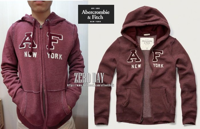A&F Abercrombie&Fitch Applique Logo Graphic Hoodie貼布連帽外套-酒紅色