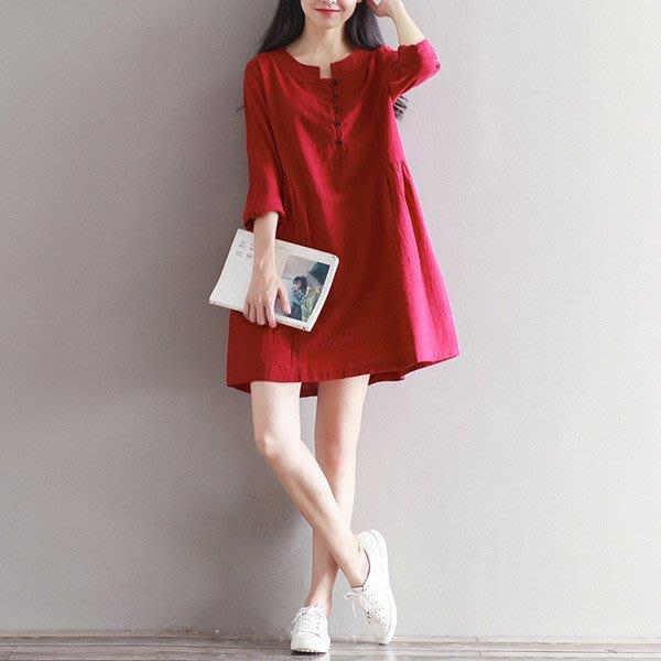 大碼洋裝 秋冬新款文藝寬鬆大碼純色洋裝長袖雙層領單排扣棉麻襯衫裙