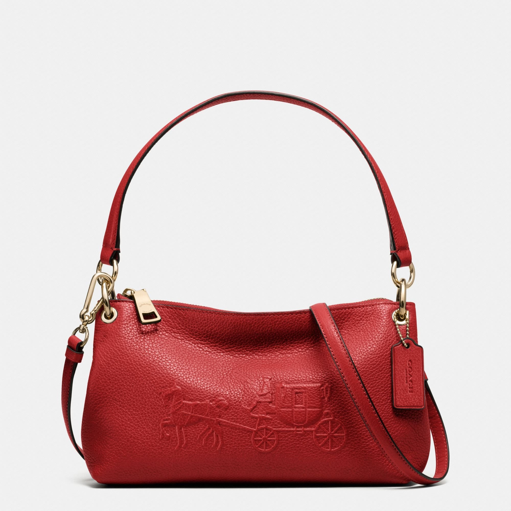 Coco小舖 COACH 33521 EMBOSSED HORSE AND CARRIAGE CHARLEY 紅色
