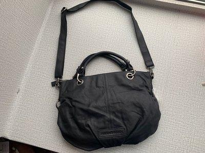 德國 FREDsBRUDER 黑色軟身牛皮 手提 斜咩袋 ($480 包順豐)