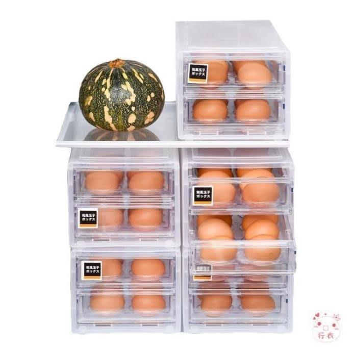 雞蛋收納盒日式透明雙層雞蛋盒抽屜式冰箱裝雞蛋防碰撞收納盒廚房儲物盒海淘吧/海淘吧/最低價DFS0564