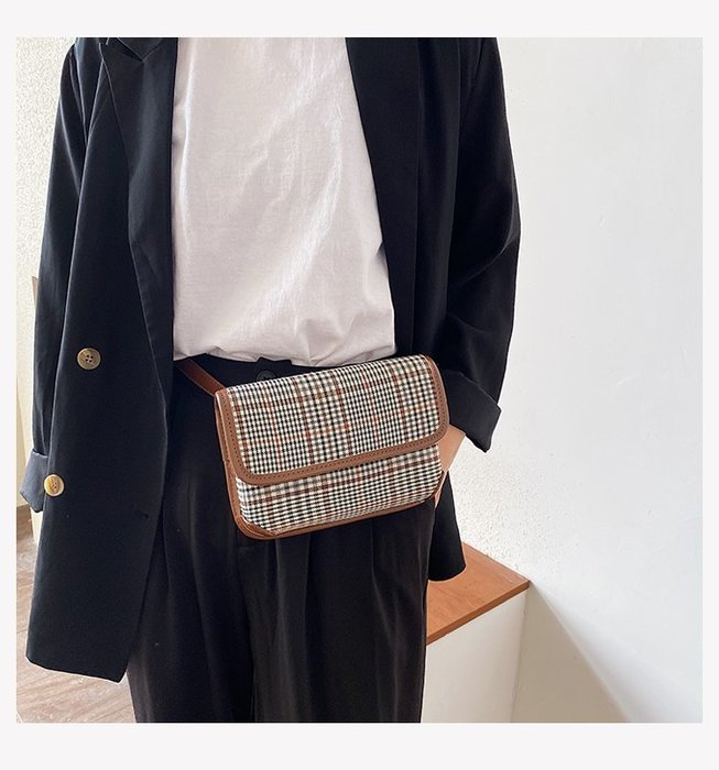 FINDSENSE X 韓國 女士 時尚格紋 小方格 百搭 小方包 單肩包 斜挎包