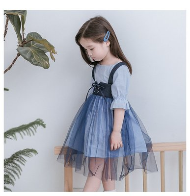 【Mr. Soar】H358 春季新款 歐美style童裝女童紗裙套裝 中大童 現貨