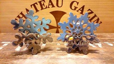 雪花不鏽鋼餐巾圈一對:聖誕節 雪花 不鏽鋼 餐巾圈 餐具 居家 家飾 設計 收藏 禮品
