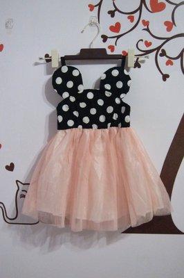 ~春夏 ~65%棉質細肩帶紗裙連身女童洋裝 禮服 蓬蓬裙圓點點 粉色  13 ~甜蜜小舖~sweet~