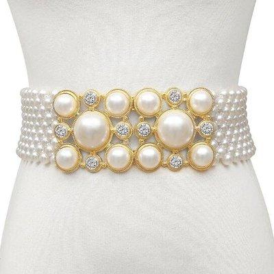 莎芭 腰帶 氣質串珍珠腰帶彈力寬鑽腰封 複古搭裙子裝飾腰帶