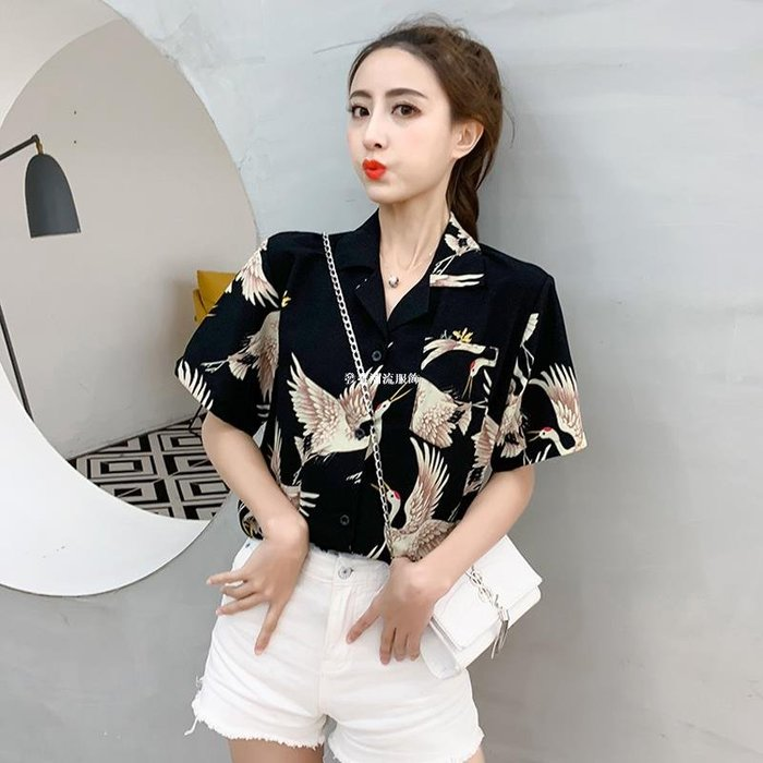 發發潮流服飾夏季香港chic韓國復古仙鶴印花短袖襯衫女設計感小眾寬松百搭上衣