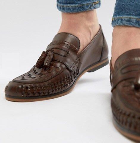 ◎美國代買◎ASOS寛版皮編材質流蘇裝飾西西里時尚雅痞尚風皮編流蘇樂福鞋皮鞋~歐美街風~大尺碼~
