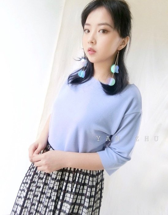 [Y A N  Z H U]正韓🌟莫蘭迪色系簡約風格剪裁五分袖針織上衣 寶貝藍 現貨+預購