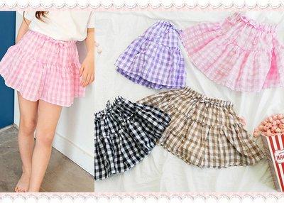 。~ 寶貝可愛 ~。韓國精選peach&cream休閒時尚,KONA CHECK SET-UP裙褲。零碼出清優惠