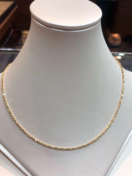義大利585/14K金項鍊,單戴就很好看,超值優惠價11880元,只有一條賣掉就沒有了,基本款式適合搭配各種墜飾,黃K金麻花鍊