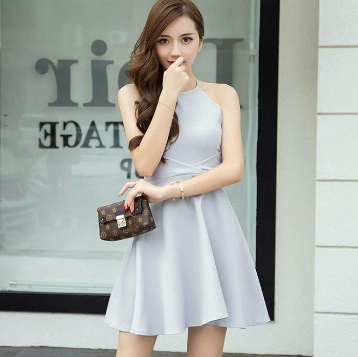 韓版 無袖 洋裝 掛脖 連身裙 禮服 宴會 活動 表演 露肩 性感 Me Gusta