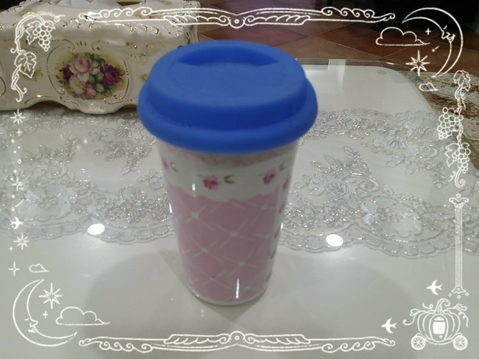 粉紅玫瑰精品屋~粉色小碎花陶瓷隨行杯~