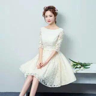 天使佳人婚紗禮服~~~~~~~~ 中袖蕾絲晚禮服 實品