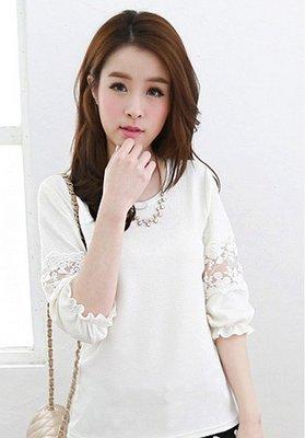 品名: 糖罐子-韓版緹花袖棉衫(白色) J-11016