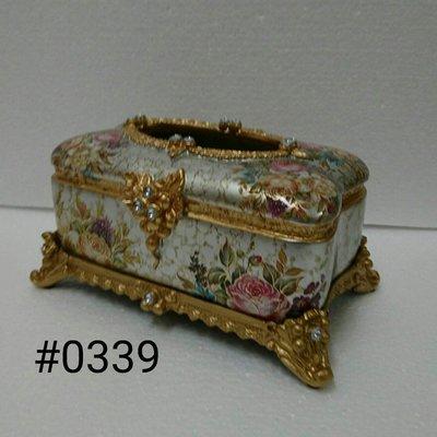 美生活館--- 全新 古典 高溫陶 長方型 金色仿舊雕刻 銀金色底 玫瑰花花朵 面紙盒/收納盒