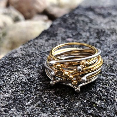 -TTULF- 原創DETAJ風格BANDAGE火柴頭造型925銀鍍金疊戴戒指指環