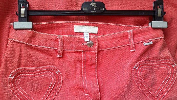 ESCADA SPORT 年輕主線 莓紅色雙愛心口袋及膝牛仔裙單寧裙