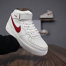 D-BOX NIKE AIR FORCE 1 MID 白色 紅勾 高筒 街頭百搭 運動鞋 情侶鞋 男女鞋