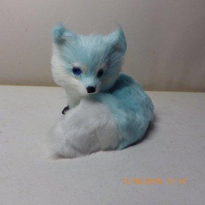 紫晶宮***仿真可爱小狐狸天藍色狐狸摆件***品質保證價格便宜