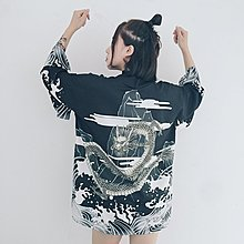 小傾心文藝館~韓版ins同款原宿BF和風浪濤飛龍羽織雪紡開衫和服外套長款男女夏