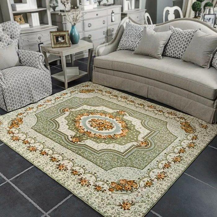 粉紅玫瑰精品屋~歐式高檔玫瑰客廳地毯 床邊毯~綠色200*250公分