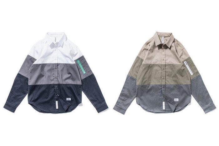 { POISON } DeMarcoLab 3-TONE L/S SHIRT MA-1手臂口袋 三段式漸層襯衫