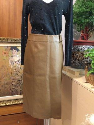 ❤️ 女 韓國製 RITA 咖啡色 非真皮裙 單側開叉 高腰窄裙 M 腰28 及膝裙 短裙