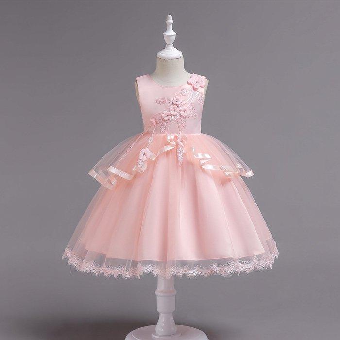 •*~ 辣媽咪衣飾小舖 ~*•❤童裝系列❤K970505韓版大童夏款甜美清新時尚蓬蓬蕾絲亮片可愛公主禮服公主洋裝