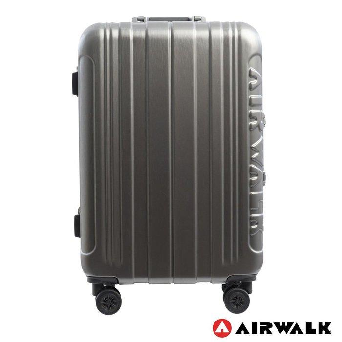 AIRWALK 24吋ABS+PC金屬拉絲鋁框復古壓扣鎖行李箱