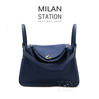 【台中米蘭站】HERMES LINDY30寶藍色SWIFT兩用包