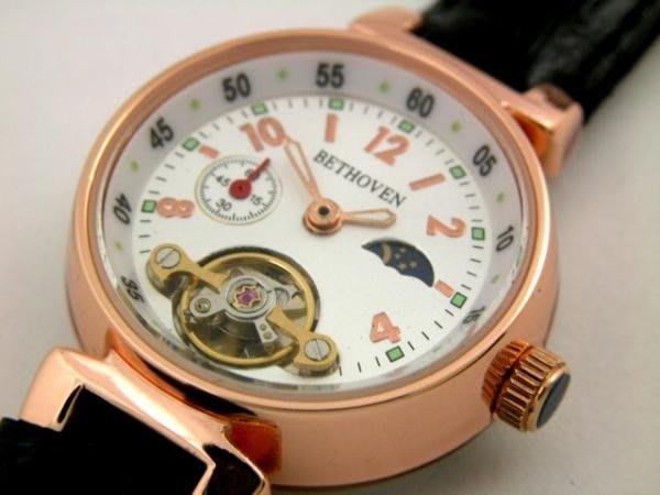 六四三鍾錶精品店@BETHOVEN(真品)手上鍊機械錶.三眼.玫瑰金色.日.月.星裝飾