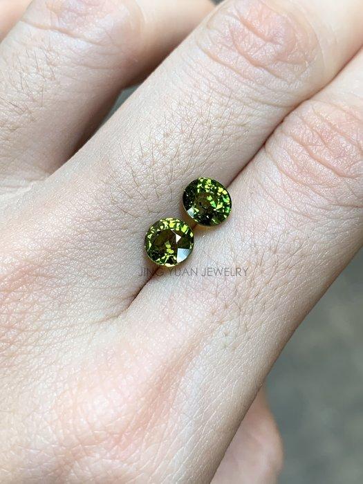 JING YUAN JEWELRY綠色馬里榴石(mali garnet) 一組兩顆2.16ct 顏色濃郁火光好淨度高