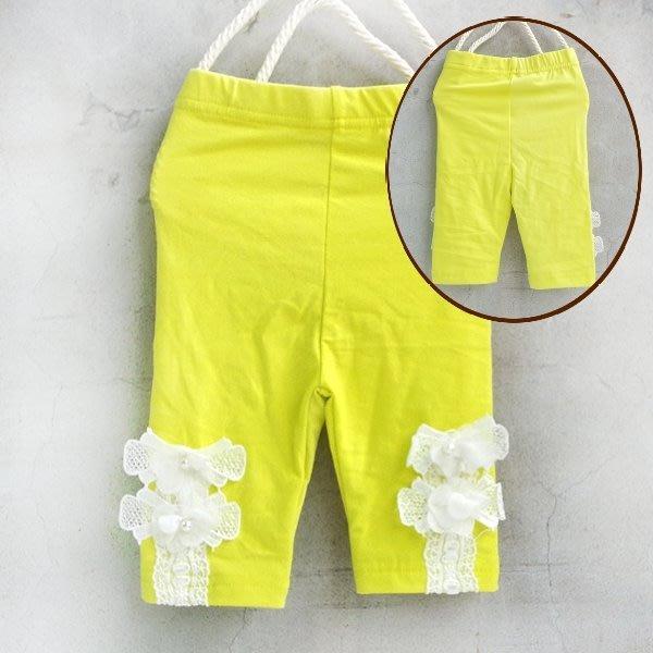 【班比納精品童裝】下珍珠花朵蕾絲內搭褲-黃【BM150422027】