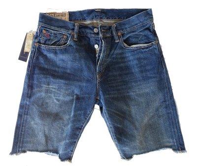 POLO Ralph Lauren 短褲 牛仔 古著設計仿舊破壞 深藍色 30 【以靡正品現貨 imy88】