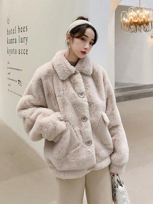 2018新款冬季雅尼爾皮草高冷氣質毛毛外套女裝中長款仿獺兔毛大衣『公主夜衣館』