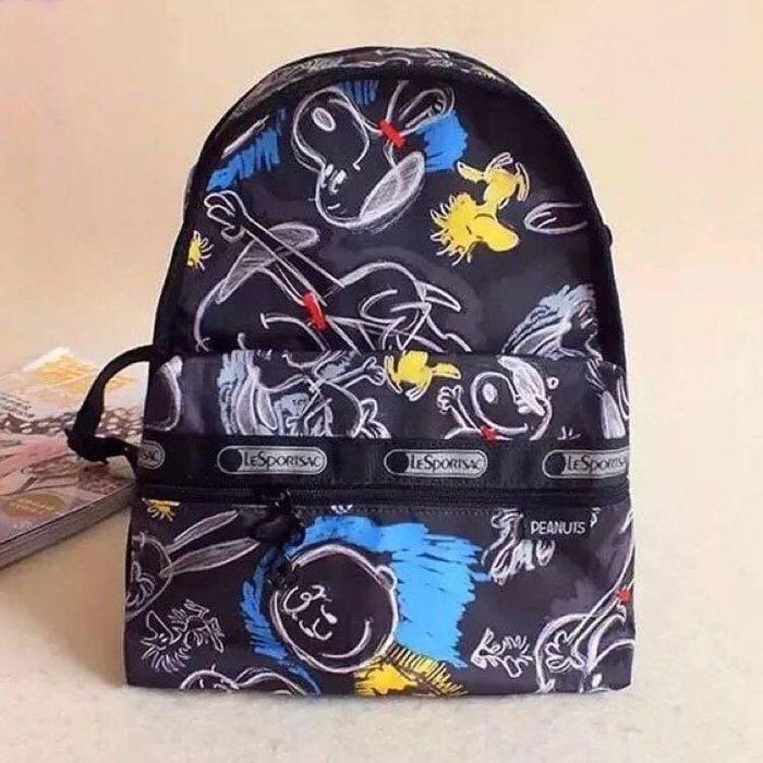 現貨 Lesportsac X Snoopy 塗鴉史努比迷你黑色雙肩後背包 7418 降落傘防水 限時優惠 限量