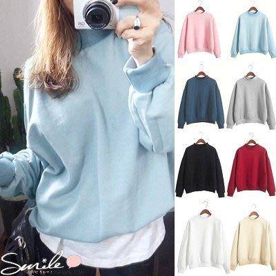 【V0195】SMILE-適作風.多色系純色好搭寬鬆長袖加絨上衣
