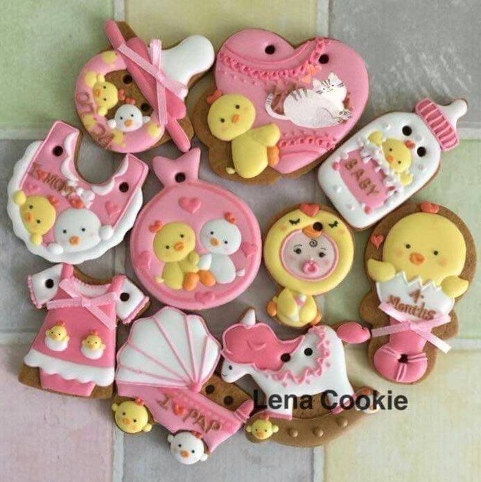 可接急單 收涎餅乾 雞寶寶系列 10片 女寶寶  粉色系 糖霜餅乾 生日禮物 手工餅乾 不挑款(Lena Cookie)