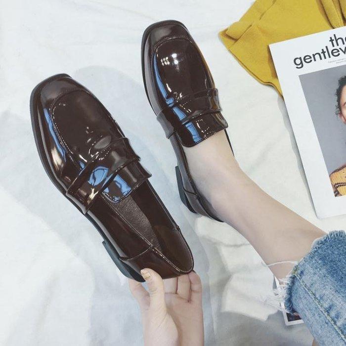 單鞋女2018春季新款英倫風百搭chic小皮鞋女粗跟軟妹原宿漆皮鞋子