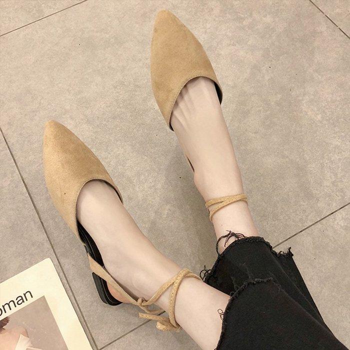 爆款--涼鞋女仙女風新款夏季平底尖頭時尚綁帶百搭性感網紅穆勒鞋潮#鞋子#涼鞋#百搭#時尚