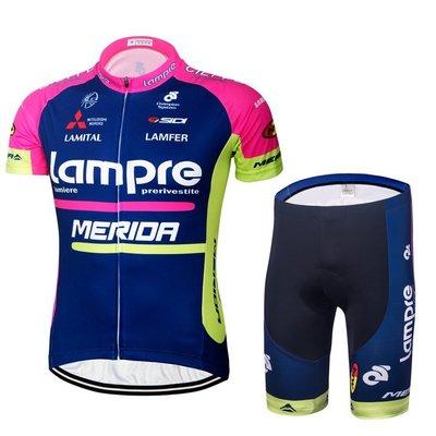 16藍波粉色騎行服 短袖 套裝 夏季環法車隊版騎行服 女生 夏季短袖套裝 自行車衣 騎士服 自行單車車隊版騎行裝備