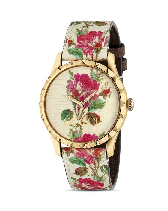 Coco小舖 Gucci G-Timeless Floral Leather Strap Watch 米色花卉皮革手錶