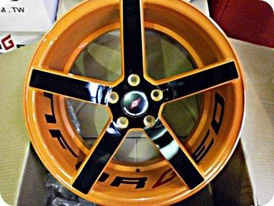 ***天下第一輪*** 全新鋁圈 1990 類CV3 18吋8J.9J 5孔114.3 前後配 橘套黑 完工價(含氣嘴)5300