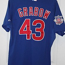 MLB CHICAGO CUBS #43 GRABOW GAME USED BLUE JERSEY SIZE:48