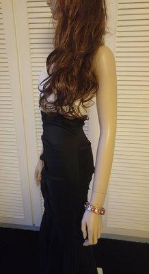 美國禮服大牌 Cachet 典雅女神單肩亮片珠繡黑白撞色纖腰魚尾裙長禮服