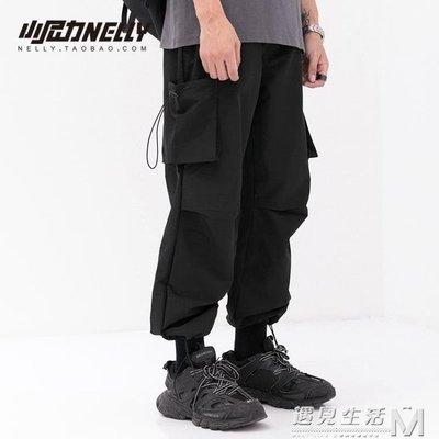 抽繩口袋寬鬆可調節鬆緊束腳褲 潮流男女輕薄休閒長褲bf