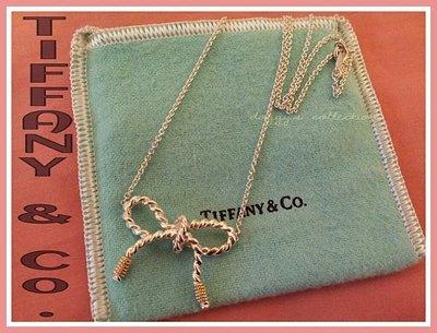 ~桃毛窩~ 專櫃真品 Tiffany & Co. 絕版款 18K金雙色鋼索式蝴蝶結純銀925項鍊~已送專櫃保養