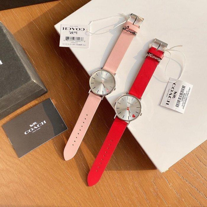 小皮美國代購 COACH 新款Perry系列女士手錶 簡約桃心裝飾 牛皮錶帶 全套包裝